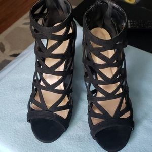 Black Strappy Cut Out Heels